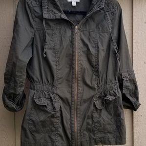 Green women's military jacket or utility jacket